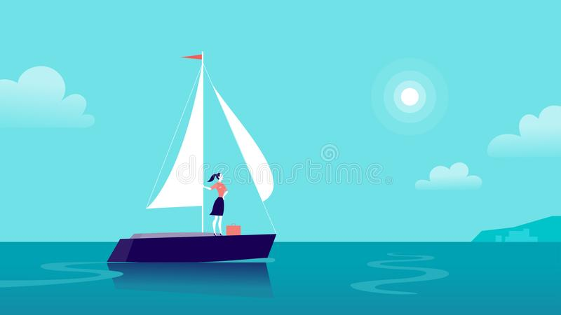 Vector flat business illustration with business lady sailing on ship through ocean towards city on blue clouded sky. Motivation, achievements, new goals vector illustration