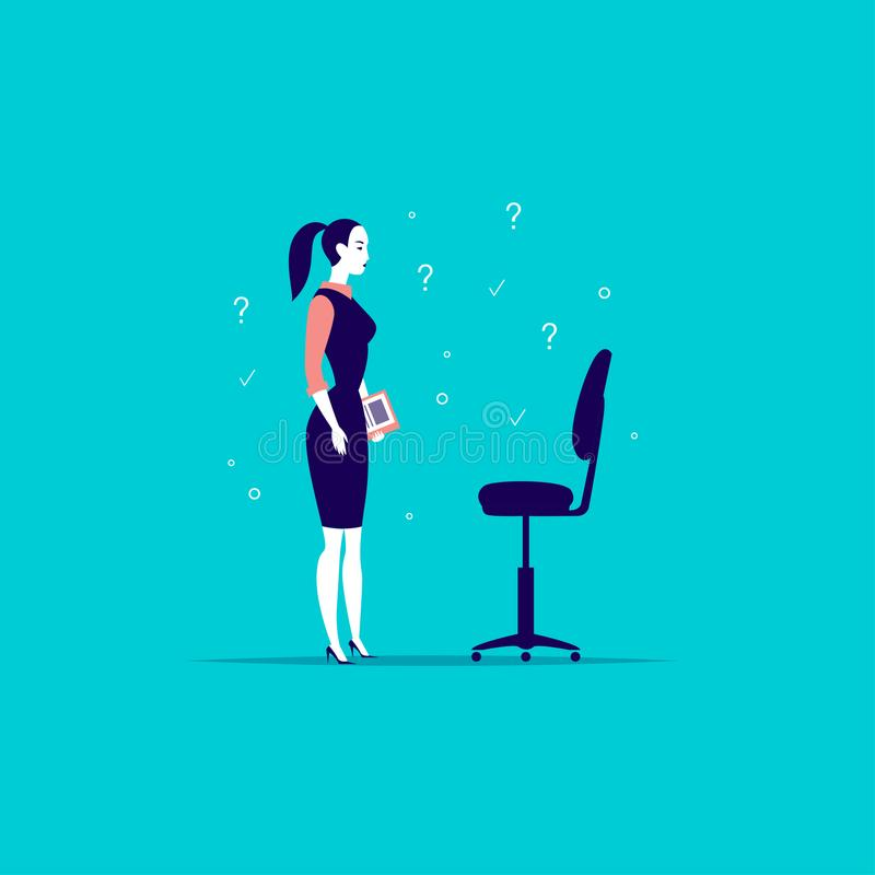 Vector flat business illustration with office lady standing at blank chair isolated on blue background. Job searching, career perspective, employment, vacancy royalty free illustration