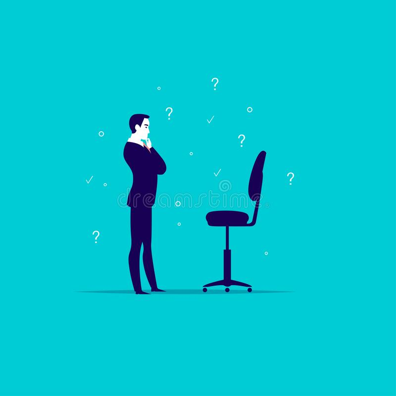 Vector flat business illustration with office man standing at blank chair isolated on blue background. Job searching, career perspective, employment, vacancy royalty free illustration