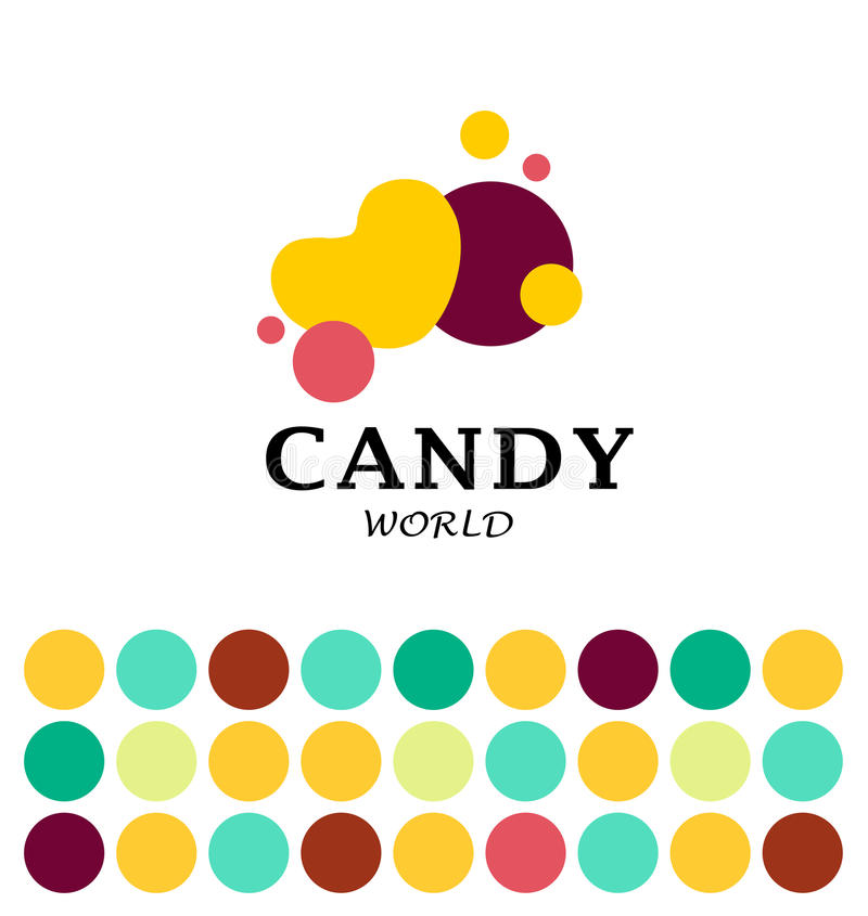 Vector flat candy bar and sweet shop logo design. Sweet store insignia design. Bakery, kid toys store, home made cakes and pies logo, restaurant, cafe stock illustration