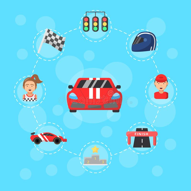 Vector flat car racing icons infographic concept illustration vector illustration