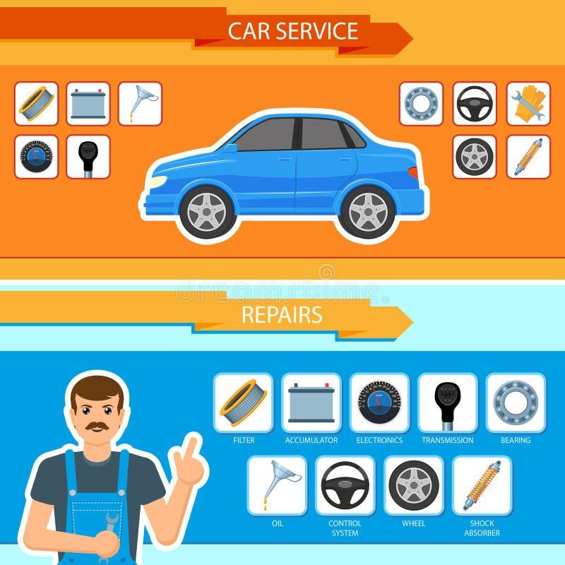 Vector car repair, mechanics services infographics stock illustration