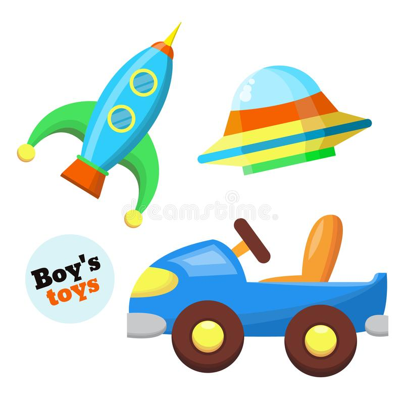 Vector flat car, rocket, flying caucer toys set royalty free illustration