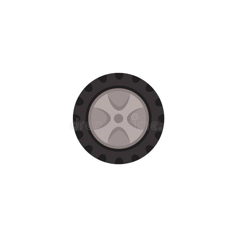 Vector flat car wheel with tire isolated icon vector illustration