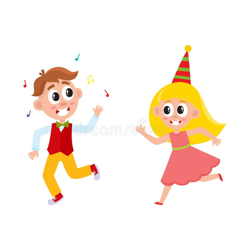 Vector Flat Cartoon Boy And Girl Kid Dancing In Party Hat Running Throwing Musik Confetti Smiling Isolated Illustration On A White Background