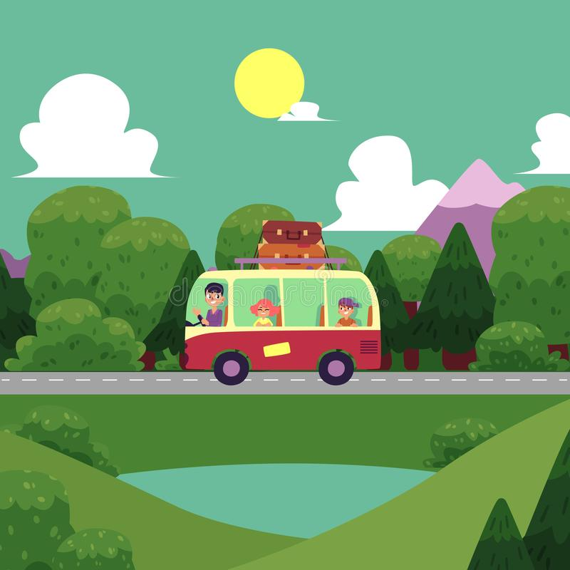 Vector flat camping, road trip scene stock illustration