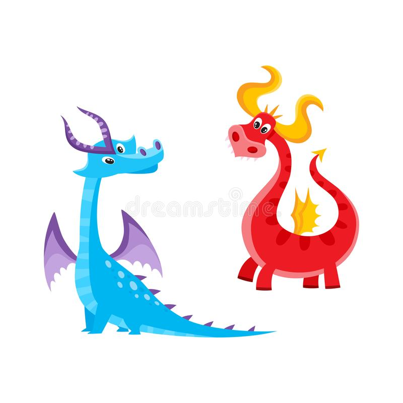Vector flat cartoon dragons with horns, wings set stock illustration