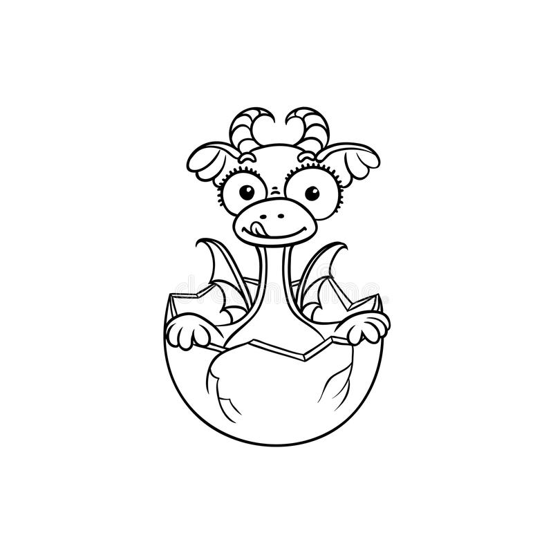 Vector flat dragon baby hatching from egg coloring. Vector flat cartoon funny dragon kid, baby with horns and wings hatching from egg. Isolated illustration on a vector illustration