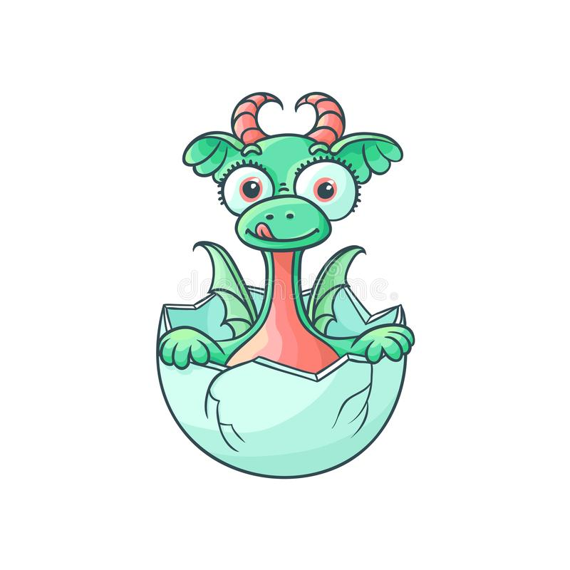 Vector flat dragon baby hatching from egg. Vector flat cartoon funny dragon kid, baby with horns and wings hatching from egg sticking out tongue. Isolated stock illustration