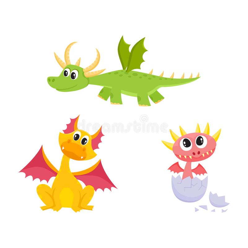 Vector flat cartoon dragons with horns, wings set. Vector flat cartoon funny teen green flying, and yellow sitting dragons with horns and wings and baby hatching vector illustration
