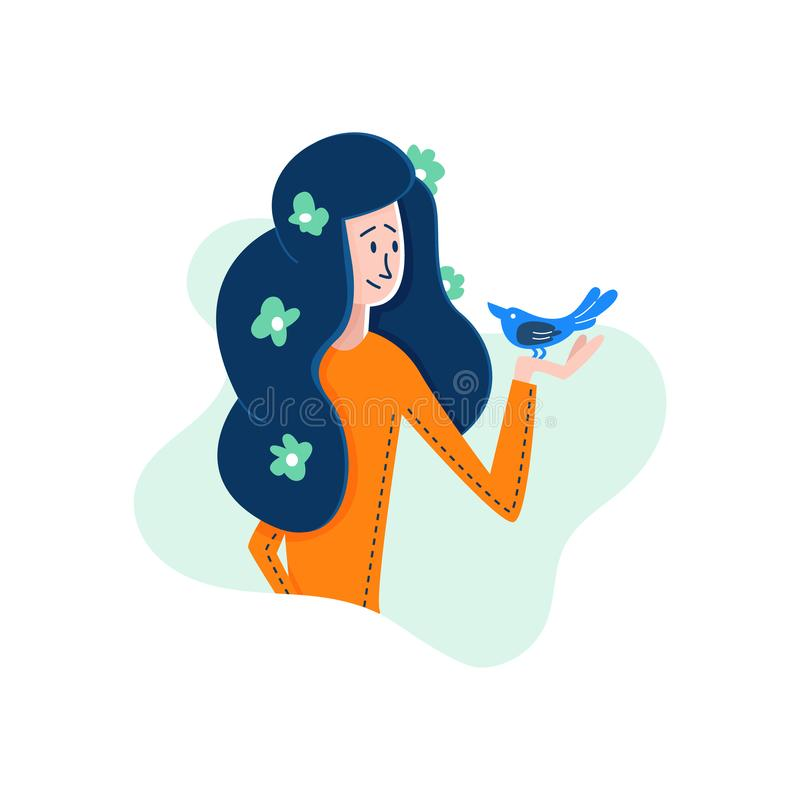Vector Flat Cartoon girl in hands holding bird. royalty free illustration