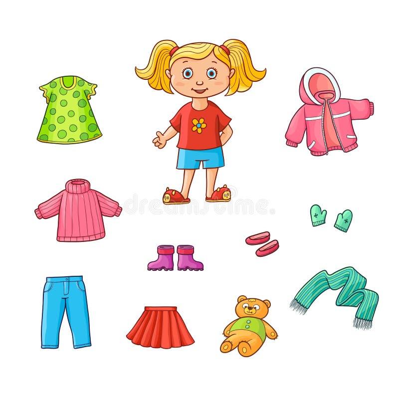 Free Vector Flat Cartoon Girl Wardrobe Objects Set Royalty Free Stock Photo - 101287145