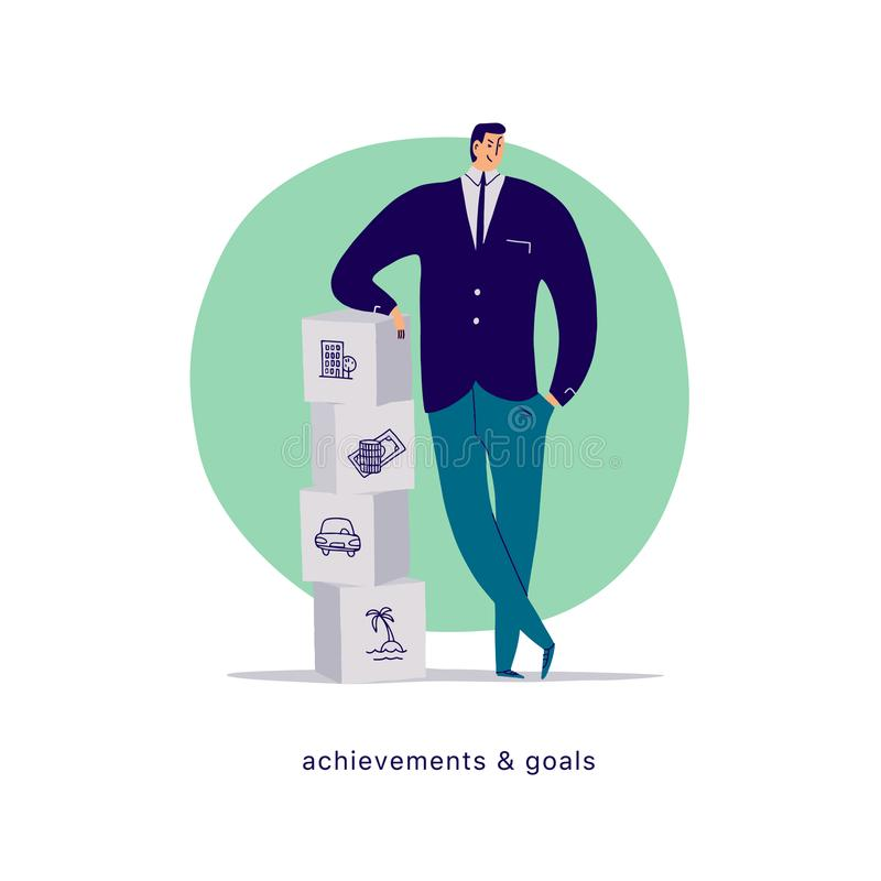 Vector flat cartoon illustration with businessman office character standing at blocks pile isolated on white background. stock illustration