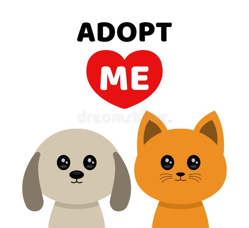 Adopt me. Dont buy. Dog Cat Pet adoption. Vector flat cartoon illustration icon design.Adopt me. Dont buy. Dog Cat Pet adoption. Puppy pooch kitty cat looking vector illustration