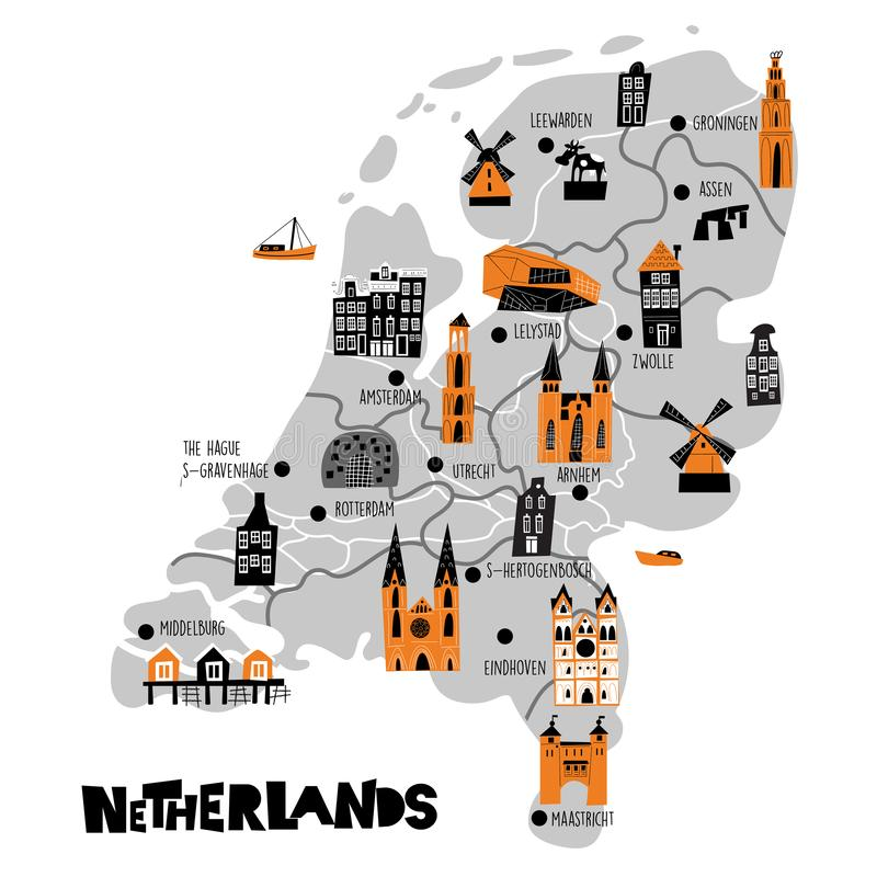 Vector flat cartoon map of Netherlands. Illustration of different attractions. Isolated on white background. royalty free illustration