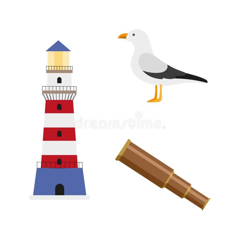 Vector flat cartoon nautical, marine symbols set. vector illustration
