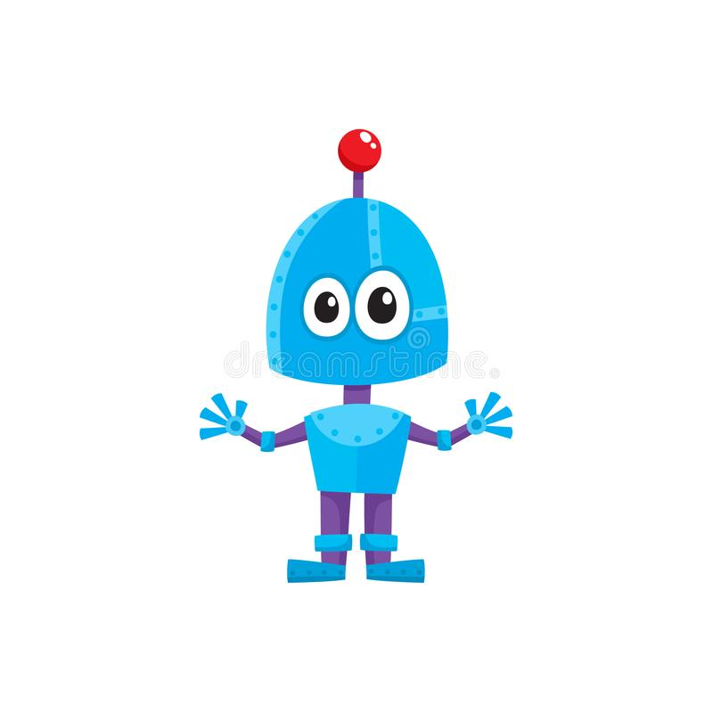 Vector flat cartoon small funny male boy robot vector illustration