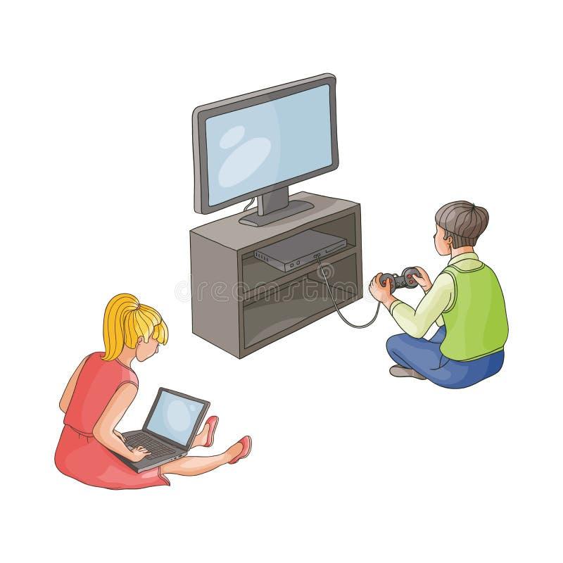 Vector boy playing video game, girl using laptop stock illustration