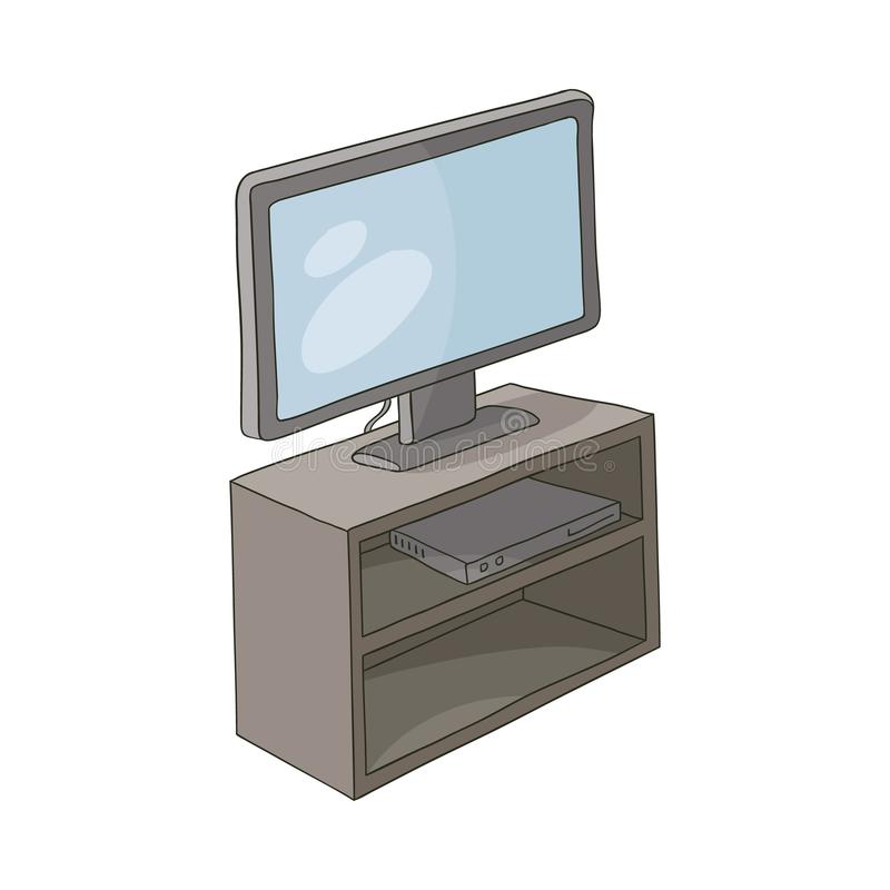 Vector flat TV stand with monitor and play console royalty free illustration