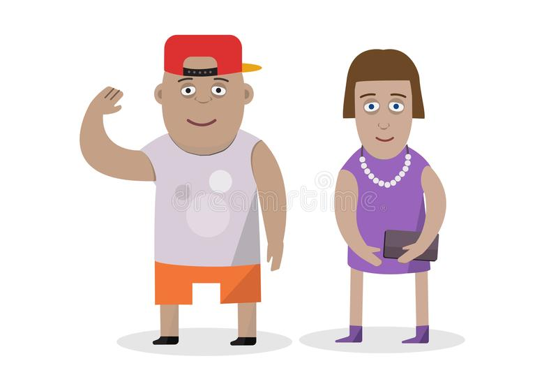 Vector flat character design on couple. Boy and girl on isolated white background. Cartoon character. stock illustration