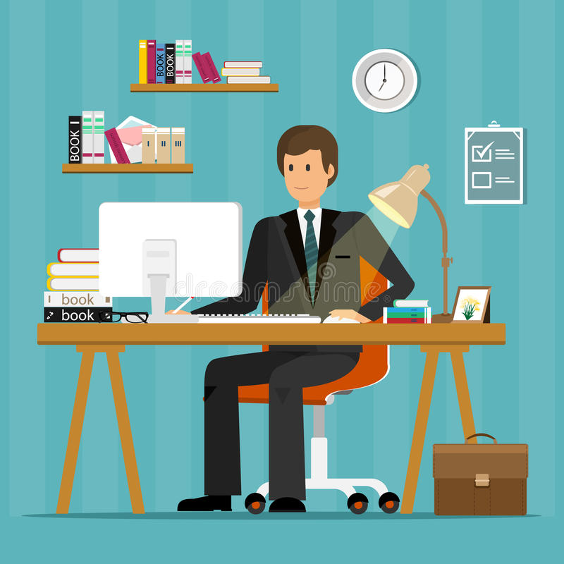 Vector flat character design of office worker. Businessman working in office, sitting at desk, looking at computer screen. Vector flat character design of vector illustration