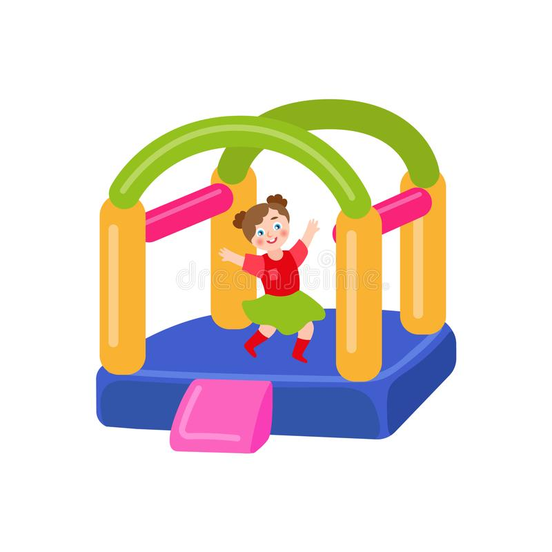 Vector flat bouncy inflatable castle and girl. Vector flat children in amusement park concept. Girl having fun in rubber inflatable playground bouncy castle vector illustration