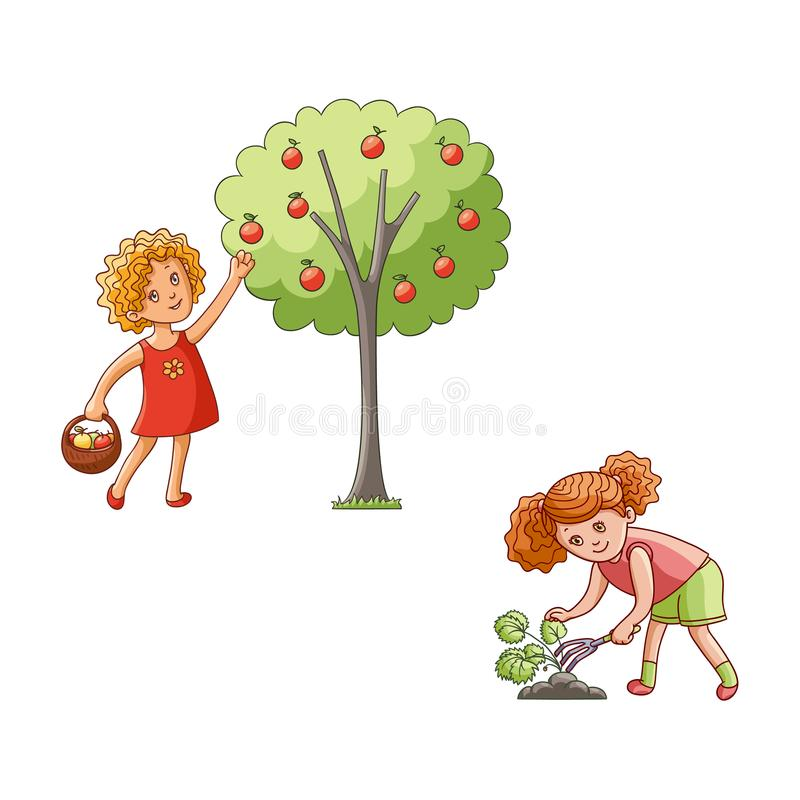 Vector flat children in garden scenes set isolated royalty free illustration