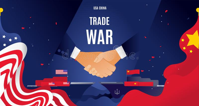 Vector flat China and USA trade war concept. Business global exchange tariff international economy. Chinese USA flag royalty free illustration