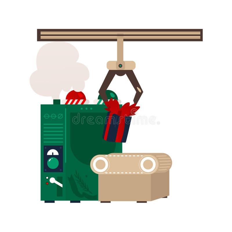 Vector flat christmas presents conveyor machine vector illustration