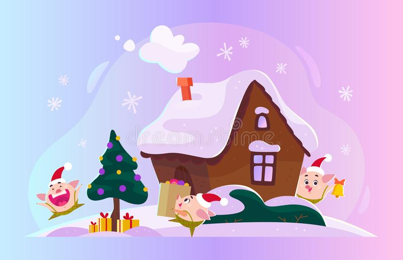 Vector flat Christmas illustration with winter composition - fir tree with gift boxes, ginger house on snowy hills and funny cute. Little round pig elf in Santa stock illustration
