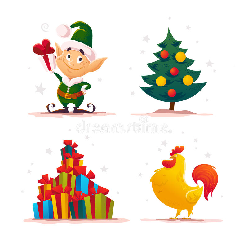 Vector flat christmas santa claus elf character portrait . stock illustration