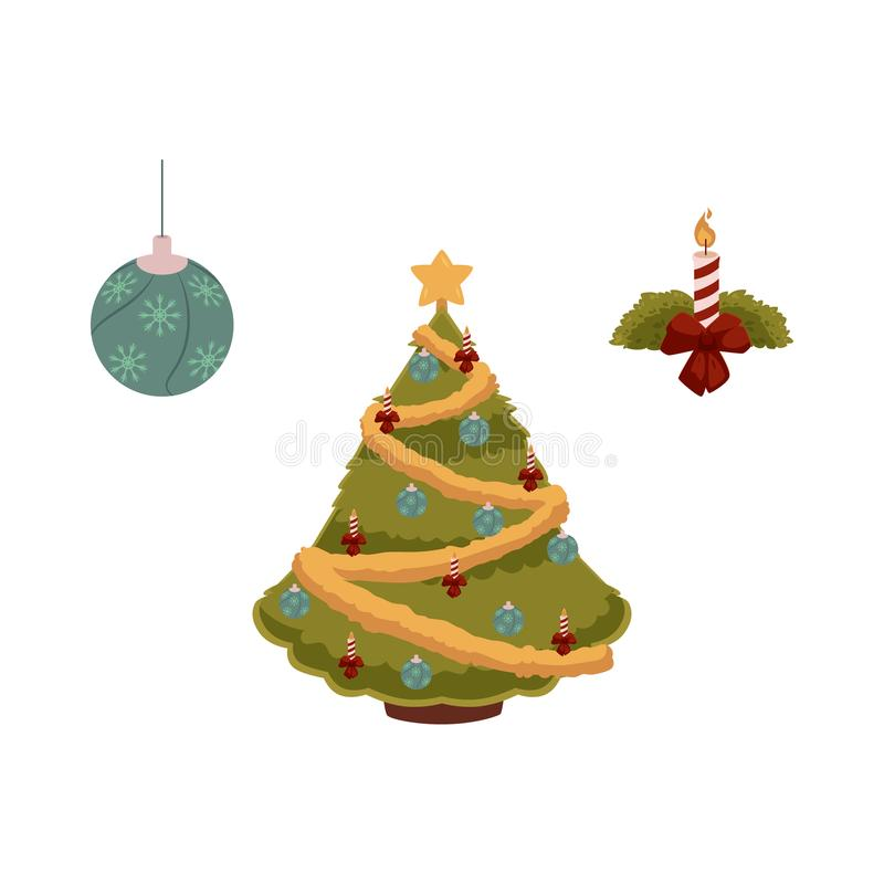 Vector Flat Christmas Symbols Set Stock Vector Illustration Of