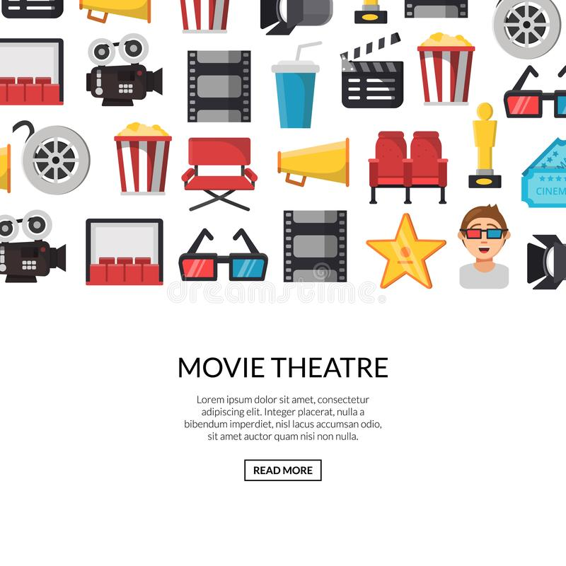 Vector flat cinema icons background with place for text illustration. Cinema film movie, video entertainment and cinematography vector illustration