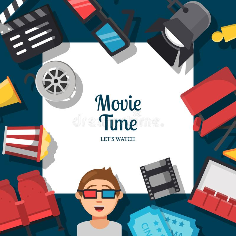 Vector flat cinema icons background with place for text illustration. Cinema movie film, entertainment video stock illustration