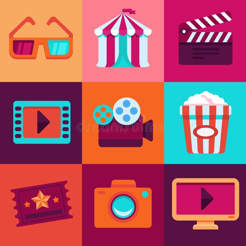 Vector flat cinema icons royalty free illustration