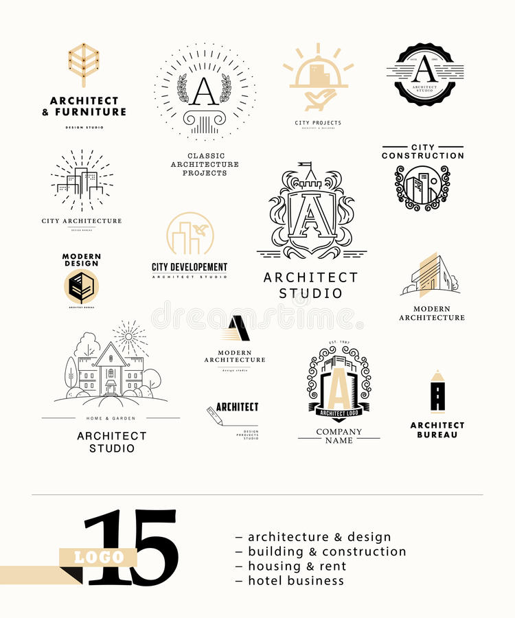 Vector flat city architect studio logo design on white background collection. royalty free illustration