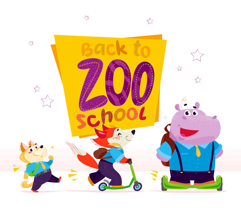 Vector flat collection of happy funny animal - walking dog, fox riding scooter, hippo on balance wheel - students. Back to school collection. Cartoon style stock illustration