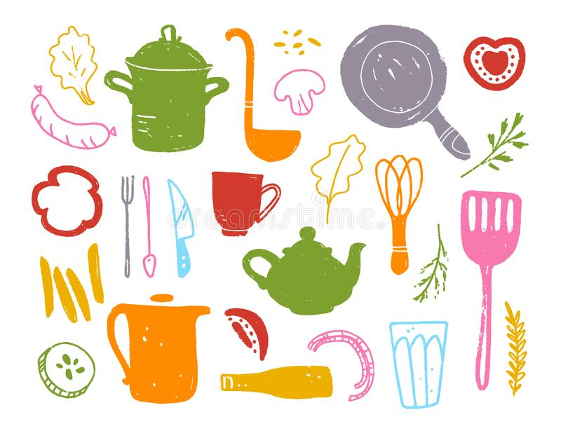 Vector flat collection of kitchen things objects: pan, teapot, fork, pot, scoop, cup and some meal products: tomato, fries, sausag stock illustration