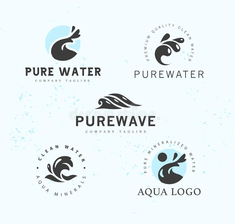 Vector flat collection of pure water logotypes isolated on white background. vector illustration