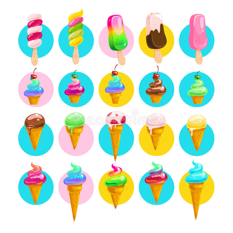 Vector flat collection of tasty sweet ice cream cone and eskimo royalty free illustration