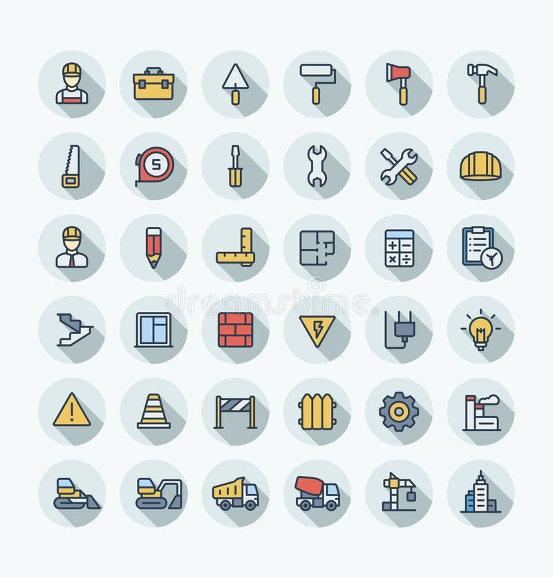 Vector flat color thin line icons set with construction, industrial, architectural, engineering outline symbols stock illustration