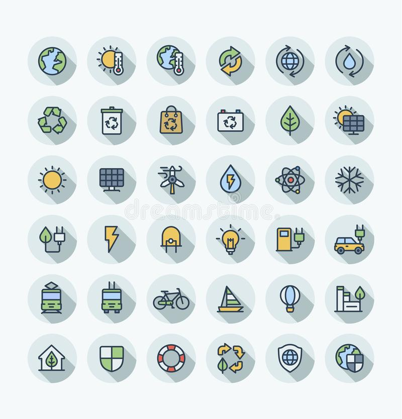 Vector flat color thin line icons set with environmental and ecology outline symbols vector illustration