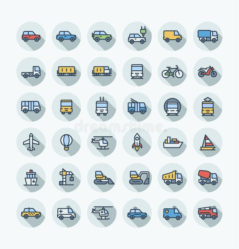 Vector flat color thin line icons set with public transport, cars outline symbols. stock illustration