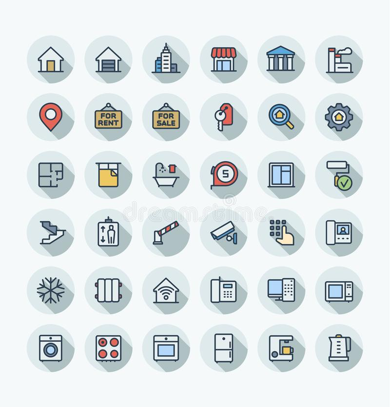 Vector flat color thin line icons set with real estate outline symbols. stock illustration
