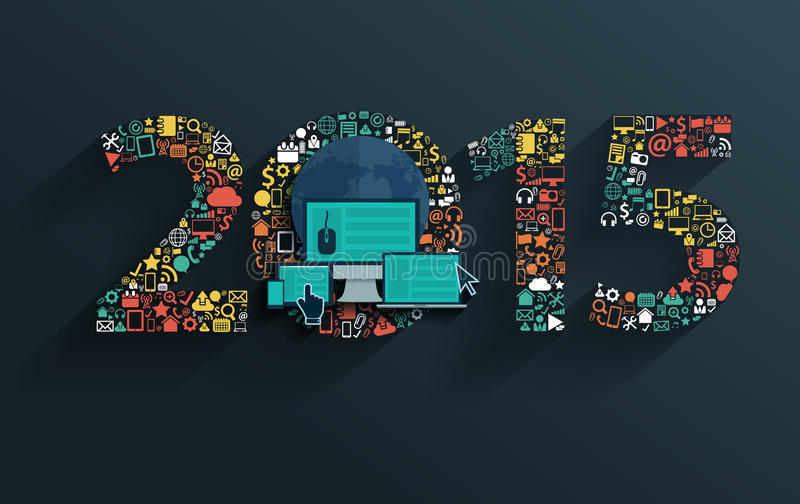 Vector flat concept with happy new year 2015 sign stock illustration
