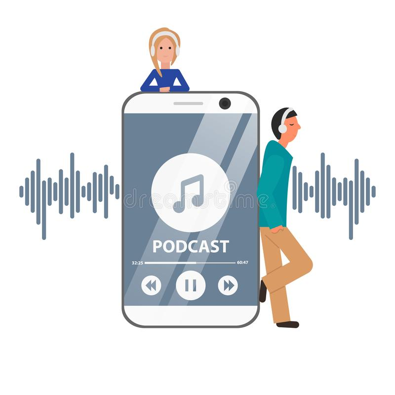Vector Flat Concept of Podcast with Guys and Phone. Girl and Man are Next to Smartphone, Listening Pod Cast, Webinar. Illustration of Internet Digital stock illustration