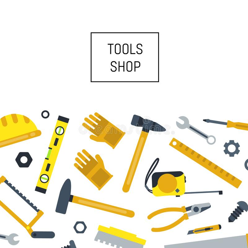 Vector flat construction tools background stock illustration