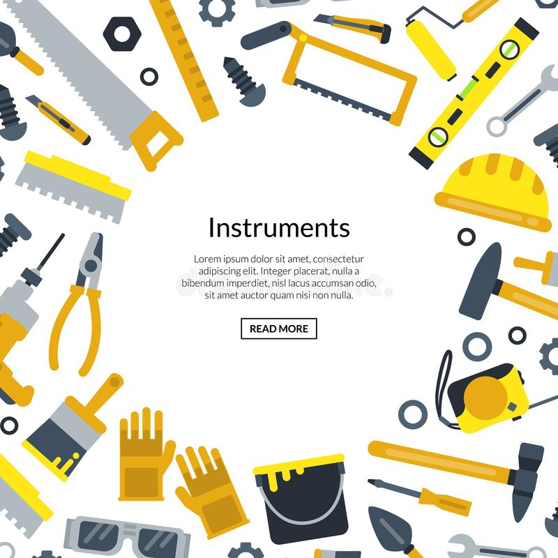 Vector flat construction tools with place for text illustration stock illustration