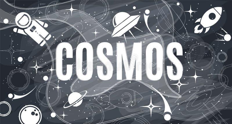 Vector flat cosmos design background stock illustration