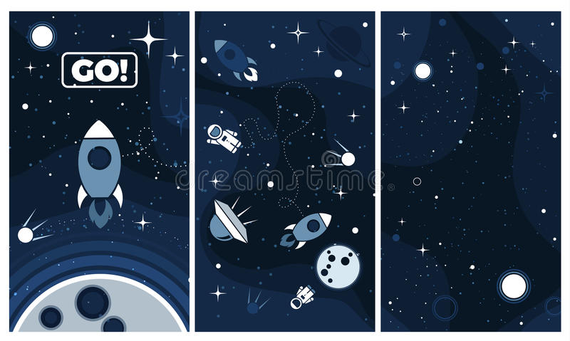 Vector flat cosmos design background for mobile app royalty free illustration